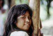 Ticuna Indian girl with filed teeth