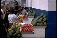 Fruit stand with cherimoya in Quito, Ecuador