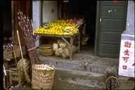 fruit stand with sugar cane in native quarters