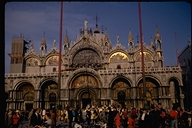 View of St. Marks Cathedral in Piazza San Marco, Venice, Italy