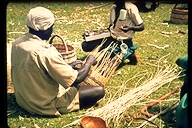 Basket weaving during Market Day in Kakamega in Kenya, Africa