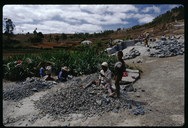 Making rock blocks by hand at a rock quarry near Antananarivo, Madagascar