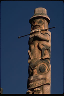 Totem pole at the Kasan Indian Village in Hazelton, British Columbia, Canada