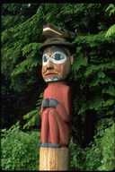 Man with Bear Hat totem pole in Totem Bight State Park, Ketchikan, Alaska