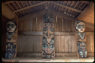 Totems inside the Tlingit Community House at Kasaan, Prince of Wales Island, Alaska