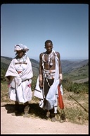 Man and woman wearing traditional clothing in Natal, Zululand, Province of KwaZulu, South Africa