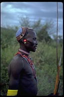 Man wearing traditional jewelry, Africa