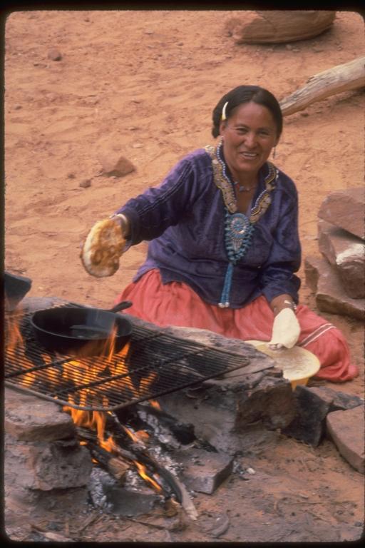 Calphotos Navajo Woman Making Fry Bread Utah